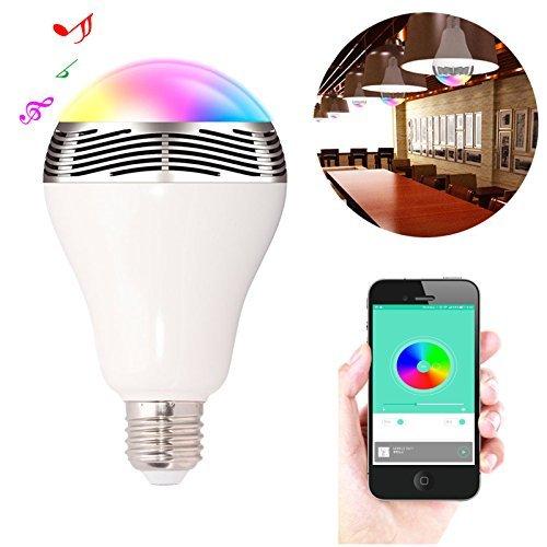 Smart Birne Bluetooth RGB Farbe Dimmbar, Fernbedienung Bluetooth 4.0 Smart LED Glühbirne Lampe mit Lautsprecher Musik Player für Haus und Nacht Party - Standard Sockel E27, E26 (Weiß) (E27 Bluetooth Lampe Led)
