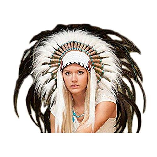 KARMABCN X15 - Penacho Sombrero Indio de Color Natural/Estilo Nativo Americano Warbonnet