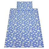 TupTam Kinder Bettwäsche Set 100x135 Baumwolle Gemustert, Farbe: Blau Weiße Wolken , Größe: 135x100 cm