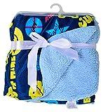 Baby Bucket Double Layer Velvet Fleece Newborn Printed Baby Blanket (Dark & Light Blue)