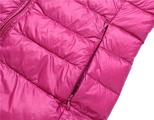 Mochoose Doudoune Sans Manche Gilet Ultra Légère Veste Manteau Parka Blouson Zippée Hiver pour Femme Rose Rouge