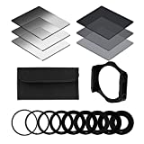 tinxi® Neutrale Dichte ND Filter Set ND2 ND4 ND8 + Allmähliche Neutrale Dichte ND-Filter G.ND2 G.ND4 G.ND8 + 9pcs Ring-Adapter (49mm 52mm 55mm 58mm 62mm 67mm 72mm 77mm 82mm) + Filterhalter + Filter Case für Cokin P-Serie für Canon Nikon Sony Fuji Panasonic Pentax Samsung und andere Camera Company