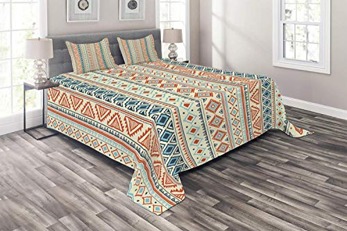 Set Queen Size, Mexican Style Aztec Patterned Retro Hand Drawn Design Abstract, 3 Piece Decorative Quilted Bedspread with 2 Pillow Cases, Blue Orange ()