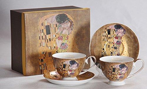 Atelier Harmony Gustav Klimt Tee- Kaffeetassenset 4teiligDer Kuss Porzellan mit Geschenkbox Neu...
