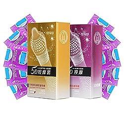 WOVELOT 24Pcs / Lot 5D Hilo de puntos Ribbed G-Point Condones de latex Anticonceptivos Gran particula Spike Condom para… 9 Sexo seguro, condones y contenido erótico   Más de condones
