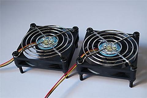(Deux chargés)double roulement à billes longue durée de vie Le ventilateur de refroidissement chassis Fan Boitier PC refroidisseur et radiateur cpu (3-pin 12V, 70X70X15mm)