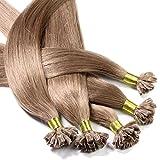hair2heart 25 x Bonding Extensions aus Echthaar, 50cm, 1g Strähnen, glatt - 14 dunkelblond