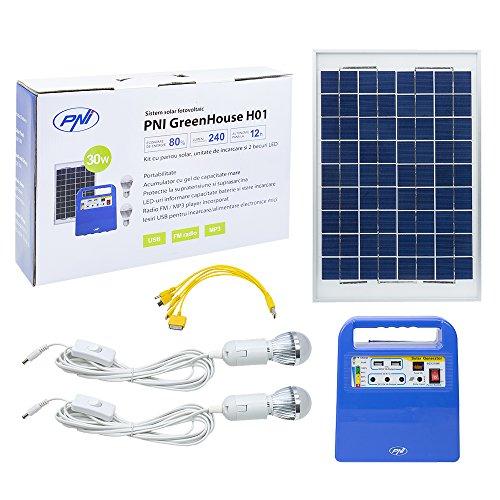 Photovoltaikanlage Sonnenkollektor PNI GreenHouse H01 30W, Akku 12V / 7Ah inklusive, USB / Radio / MP3, 2 x LED-Lampen (Lampe Speicher)