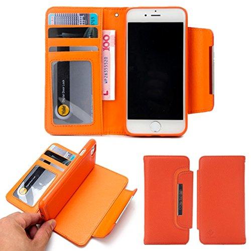 Litchi Beschaffenheit Magnetischer Verschluss-Art PU-lederner Kasten mit abnehmbarer rückseitiger Abdeckung u. Karte Bargeld-Schlitze für iPhone 7 ( Color : Black ) Orange