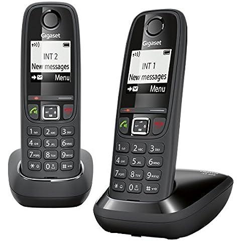 Gigaset Siemens AS405 Duo - Juego de teléfonos fijos inalámbricos (2 terminales, con pantalla), color negro (importado)