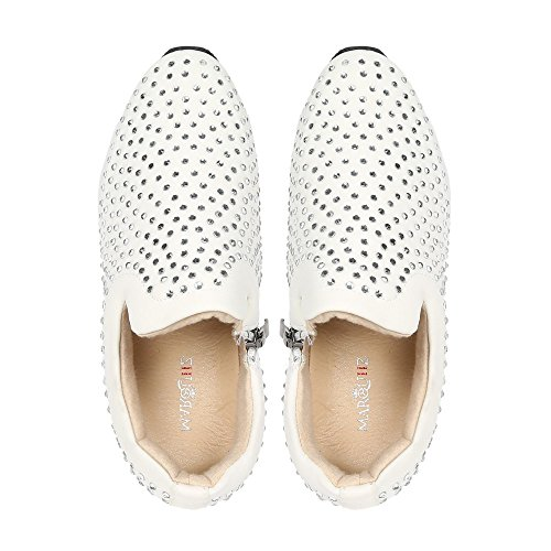 Ideal Shoes – Sneaker meravigliosi strass Tiana Bianco
