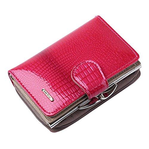 Bluestercool Portafoglio Donna Lungo Vera Pelle Grande Capacità Borsa Elegante Rosa