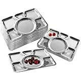 Rupa's 100% Stainless Steel Six Compartment Dinner Plate | Stainless Steel Plate | Mess Trays Great For Camping Set Of 2 Pieces