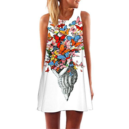 MRULIC Neue Beliebt Abiballkleider A Linie Kleid Festliche Kleidung Mädchen Coole 3D Blumen Drucken Lange Tops(H-Weiß,EU-40-42/CN-L)