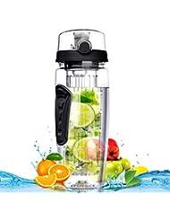 Botella de Agua de Tritan de 900ml con Infusor de Esencia de Frutas sin BPA,Omorc Botella de Agua Deportiva Reutilizable de Plastico con Filtro Protector Libre de Toxinas,Resistente a los Golpes y al Impacto,se Incluye un Cepillo de Limpieza (Negro)