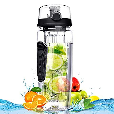 OMorc Fruit Infuser Water Bottle 900ml/32oz, BPA-Free, Shatter-Resistant and Impact-Resistant with Cleaning Brush, Ideal for Your Office and Home (Black)