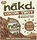 Nakd barras nutritivas chocolate avena – sin gluten, sin lactosa, cruda Certificado Paleo, Vegano | 4 barritas dietéticas | Nakd