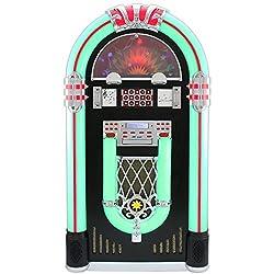 Monstershop Jukebox Holz-Gehäuse Retro 50er Jahre Musikbox mit Schallplattenspieler USB-SD-Slot, AUX, MP3 Player CD-Player Bluetooth Radio mit LED-Beleuchtung Fernbedienung 105cm x 57cm x 30cm