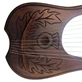 Lyre Harp Rosewood 10 METAL STRINGS Thistle Design/Lyra Harp/ENGRAVED HARP With Carrying Case & Tuning Key Free