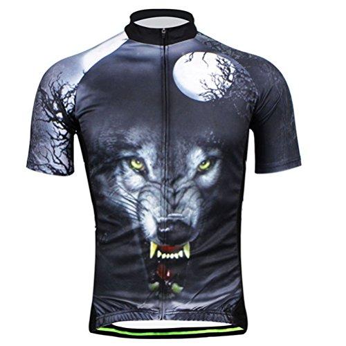 Uriah Herren 3D Fahrrad Trikot Kurz Sleeve, Herren Jungen, Wolf Head, X-Large -