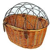 Hundefahrradkorb Fahrradkorb Tierkorb Vorne für Gepäckträger aus Weide Beige ökologie Einkaufskorb mit Metallgitter