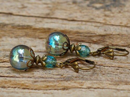 WIEDER DA!!!!! Vintage Ohrringe mit Glasperlen - seegrün & bronze