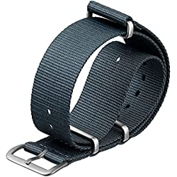 ZULUDIVER® Gunmetal Grey Nylon G10 NATO Watch Strap with Satin Hardware 20mm
