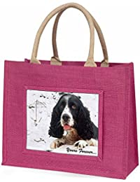 Cocker Spaniel in Snow 'Yours Forever' Large Pink Shopping Bag Christmas Present
