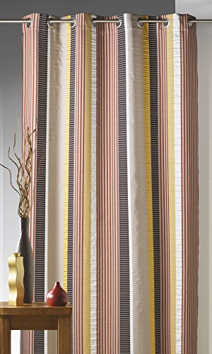 Homemaison tenda in jacquard fantasia, a righe verticali, 100% poliestere, arancione, 140 x 260 cm
