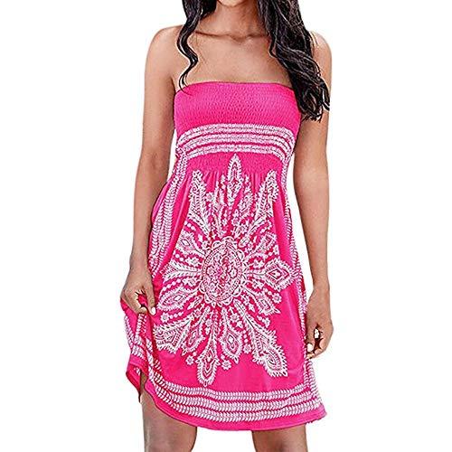 HupoopFrauen trägerlosen Blumen böhmischen lässig Mini Beach Dress Cover-ups Kleid(Hot Pink,S) -