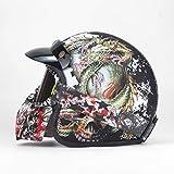 Helm Motorrad Retro Open Face Retro Racing Motorradhelm Mit Schutzbrille Maske LW Mattschwarz 2 L