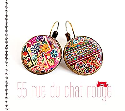 Boucles d'oreilles cabochon, motif asymétrique, hindou, Inde, folklore, multicouleur,