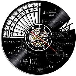 RRBOI 1 Pieza Elemento químico Tabla periódica Disco de Vinilo Reloj de Pared Química MatemáticasCiencia Reloj de Pared Friki Gráfico Aula LED 7 Color
