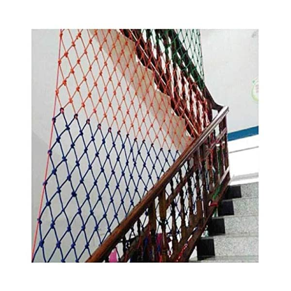 Safety net children's fall protection stairs safety net kindergarten garden playground ceiling decoration net cat net rock climbing hammock swing (Size : 10 * 10M(33 * 33ft))  ◆ Safety net wire diameter 6MM, mesh spacing 10CM.Color: Color rope net.Our protective mesh can be customized according to your needs. ◆Protective net material: Made of nylon braided rope, hand-woven, tightened.Exquisite workmanship, solid and stable, can withstand 300kg weight impact. ◆Features of decorative net: soft material, light mesh, multi-layer warp and weft, fine wiring, fine workmanship; clear lines, non-slip durable, anti-wear. 4