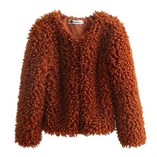SHUBIHU Frauen Mantel Lange Ärmel Tops Plus Einfarbiges Samthemd O-Ausschnitt Verdickung Kurzmantel Outwear Strickjacke Bluse Neu 2019 (Braun, S) - Continental Zip
