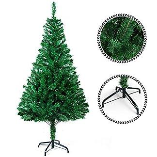 SunJas Árbol de Navidad Artificial Árbol Espeso Verde/Blanco/Nevado con Copos de Nieve Blancos y Piñones de Pino Soporte Metálico Árboles 120cm-210cm (200-700Ramas)