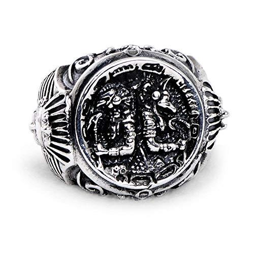 Axiba Ringe S925 Sterling Silber Mann Persönlichkeit Trend herrschsüchtig Anubis Rover ägyptischen Pharao Ring schicken Freunde Verwandte Geburtstag Graduierung Geschenk-Gib es jemandem, den du liebst-Gib es jemandem, den du liebst