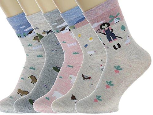 Neuheit Socken Baumwolle Crew Einhorn Eule Katze Bauernhof Prinzessin Meerjungfrau Socken - Cartoon Tier Socken - 5 Pack Weihnachtssocken Geschenkbox (Tag in der Farm Story)