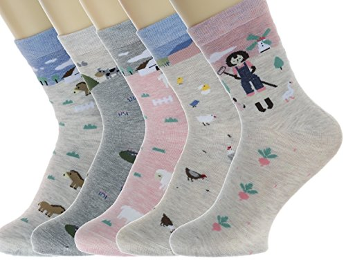 Novelty Women Socks Cotton Crew Ankle Socks – Cute Stories Cartoon Animal Themes - Trendy Designer My Story Socks - 5 Pack Christmas Socks Gift Boxed (4-7, Day at the Farm Story)