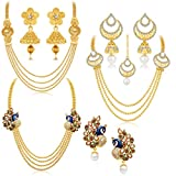 #6: Sukkhi Gorgeous Peacock Gold Plated Set of 3 Necklace Set Combo For Women