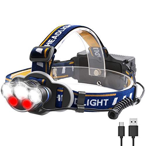LightessStirnlampe LED Wiederaufladbar Kopflampe USB mit Rotlicht WasserdichtKopfleuchteHead Light