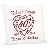 Kissen zur Rubinhochzeit: persönliches Zierkissen zum 40. Hochzeitstag – Deko-Kissen mit zwei Namen und zwei Jahreszahlen personalisiert