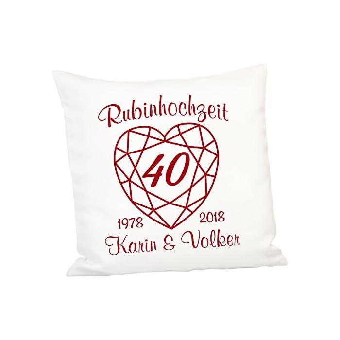 Geschenke 24 Kissen zur Rubinhochzeit: persönliches Zierkissen zum 40. Hochzeitstag – Deko-Kissen mit Zwei Namen und…
