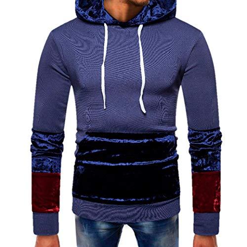 CICIYONER Herren Top Bluse, Herren Spleißen Tasche zur Seite Fahren Lange Ärmel Mit Kapuze Sweatshirt Oberteile Bluse