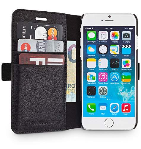 WIIUKA Echt Ledertasche -TRAVEL Away- für Apple iPhone 6S und iPhone 6 mit Vier Kartenfächern, extra Dünn, Tasche Schwarz, Leder Hülle kompatibel mit iPhone 6/6s Iphone-leder-tasche
