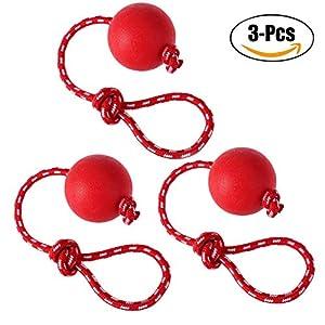 Chiens Jouets à MâCher Ballon Avec Corde,3 Pièces Animal De Compagnie Interactif Caoutchouc Ballon Lanceur Pour Chiens En Jouant EntraîNement Faire De L'Exercice
