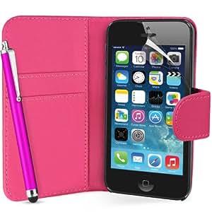 Apple iPhone 5 Buch-Stil Imitat Leder Tasche in Rosa Hülle Etui Schale Case, Eingabestift, Schutzfolie, Zubehör