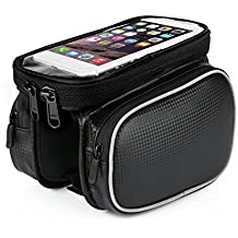 Manubrio bici bag,Xyxtech anteriore bici top tubo touchscreen saddle bag rack mountain Road bicicletta confezione supporto della doppia Phone borse per smartphone, ciclismo impermeabile del supporto per cellulare 14 cm con touch screen del telefono custodia per iPhone 6 Plus/6s Plus, Samsung Galaxy S7/S6/S6 Edge, Galaxy s5. iPhone 7