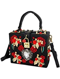 Datuk Women's Latest Floral Printed Black Handbag