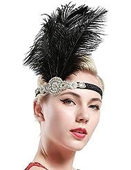 Babeyond Frauen Roaring Prom Ostrich Feder Stirnband Party Headwear 1920er Jahre Zubehör für Frauen Hyperbole Art Deco Style